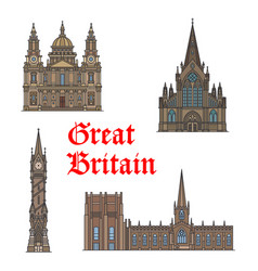 British travel landmark of architecture icon set vector