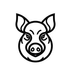 Linear image of swine or pig head vector