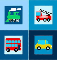 Cute train bus car and fire truck children vector
