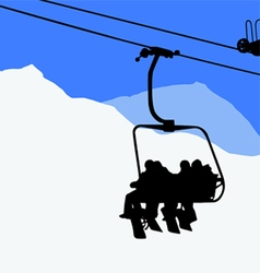 Ski lift snowboarders skiers vector