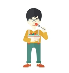 Man eating salad vector