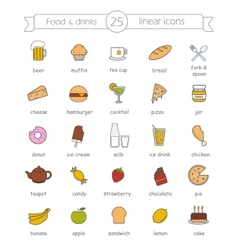 Food and drinks nutrition color icons set vector