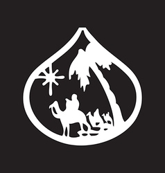 Adoration of the magi silhouette icon on black vector