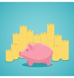 Pink piggy bank and stacks of gold coins vector