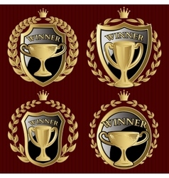 set of gold metallic templates for winner vector image