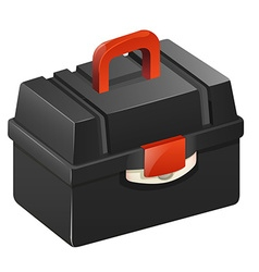 Black tool box with red handle vector