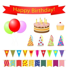 Birthday party design elements set vector image vector image