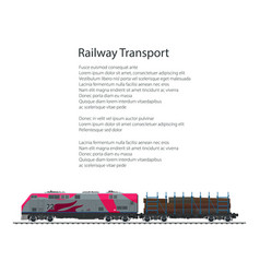 Brochure locomotive with railway platform vector