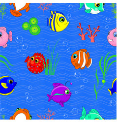 Cartoon seamless pattern underwater world vector
