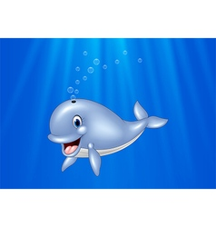 Cartoon whale swimming in the ocean vector image vector image