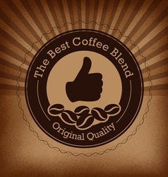 Coffee label over sunburst vintage background vector image vector image