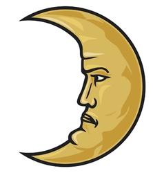Crescent moon face vector