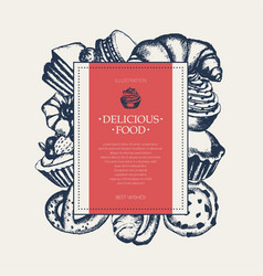 delicious food - monochromatic hand drawn square vector image vector image