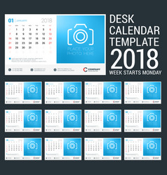 Desk calendar for 2018 year design template with vector