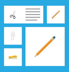 flat icon stationery set of clippers fastener vector image