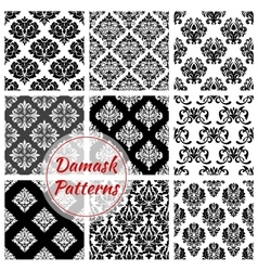 Floral Damask pattern set flowery ornament vector image vector image