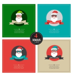 Four xmas cards with hipster santa place for your vector