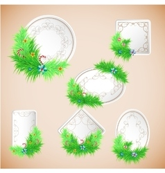 Greeting christmas and new year paper card with vector