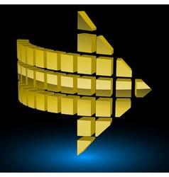 Halftone Glossy Golden Arrow vector image