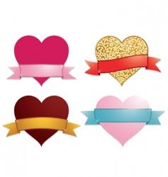 hearts and ribbon banners vector image vector image
