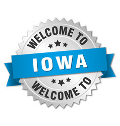 Iowa 3d silver badge with blue ribbon vector