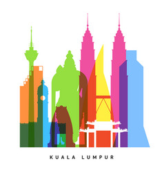 Kuala lumpur landmarks bright collage vector