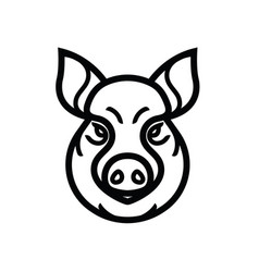 Linear image of swine or pig head vector
