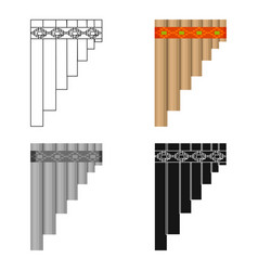 Mexican pan flute icon in cartoon style isolated vector