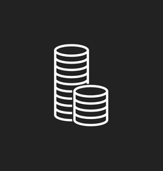 Money icon black coins flat vector