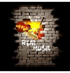 Musical breakthrough in brick wall jazz guitar vector