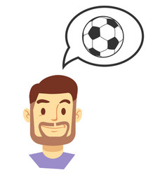 Smiling man thinking about soccer game vector