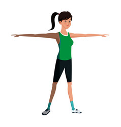Sport girl training stretch open arms vector