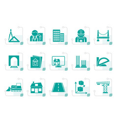 Stylized architecture and construction icons vector