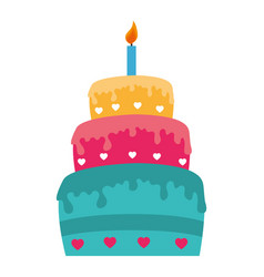 sweet cake celebration icon vector image