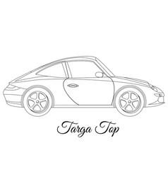 Targa top car body type outline vector