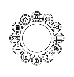 Technology apps connections icon vector