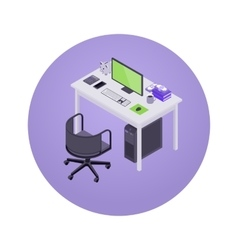 Isometric accountant workplace vector