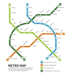 Metro subway map template vector