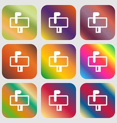 Mailbox icon nine buttons with bright gradients vector