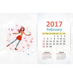 Nice young woman skating fun calendar for 2017 vector