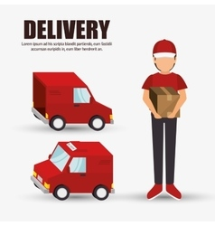 Delivery concept character truck icon design vector