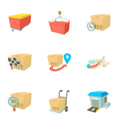 Transfer icons set cartoon style vector