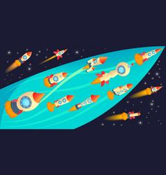 rockets race horizontal banner cartoon style vector image