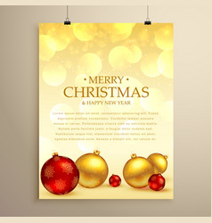 Merry christmas greeting card flyer template with vector