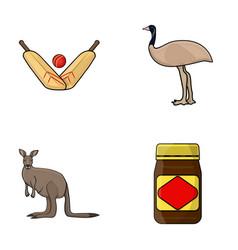 a game of cricket an emu ostrich a kangaroo a vector image