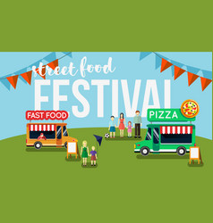 Street food festival flyer vector