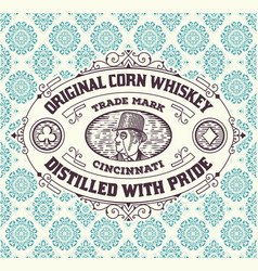 Vintage frame and label for whiskey product you vector