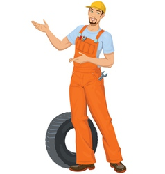 Smiling car mechanic vector
