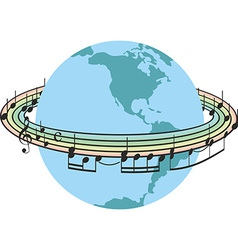 Rainbow music around the planet earth vector