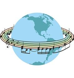 Rainbow music around the planet earth vector image